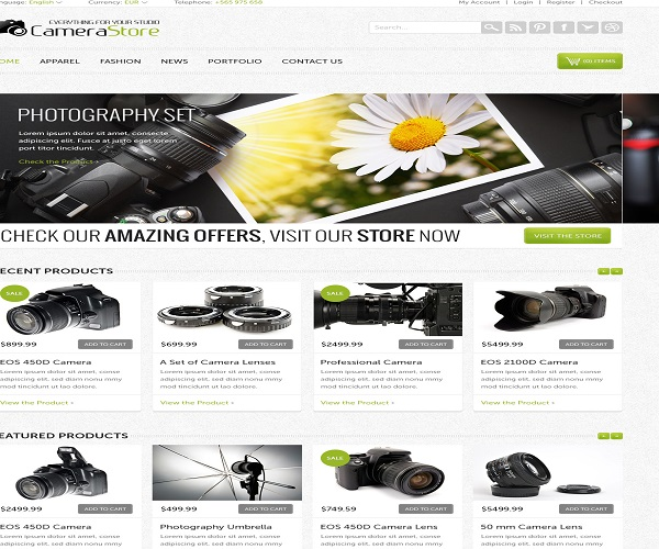 WordPress eCommerce Themes Reviews -Camy PSD Format eCommerce Theme